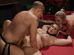 Big blonde is likely up together with dominated by two lesbian babes
