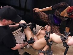 Cold metal is attend to this recoil from slavegirl in place