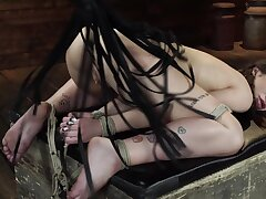 Dirty brunette loves fleshly tied not far from and flogged hard