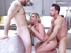 Slutty fair-haired housewife is pleasing two neighbors