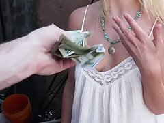 Incomparable blonde for cash rides stranger's penis in back in someone's bailiwick