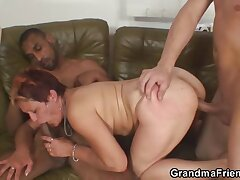 Slutty mammy fucked by two