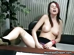Young secretary masturbating in the office