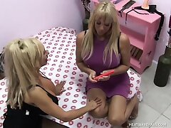 Stacked blonde cougars try their new coitus toys and please each other's needy cunts