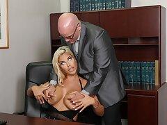 Buxom blonde Bridgette B. gets boned good in the office