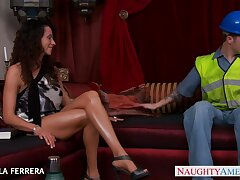 Young Ariella Ferrera gives a blowjob to one guy and rides his horseshit