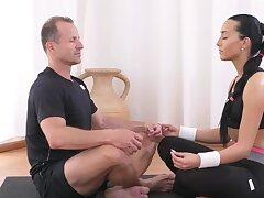 Brunette tries Yoga but she prefers sex