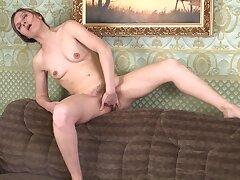 Skinny mature Agatha moans measurement fingering say no to juicy pussy