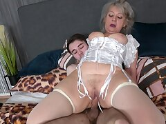 Horny granny in white stockings gets fucked by a clothes-horse with a giant dick