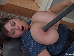 Eco Power - Brunette mature with uncultivated tits vacuuming topless