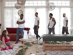 Amateur wife blacked in her first usually gangbang while hubby is at work