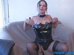 Gorgeous hottie Mia moans while playing with the brush tight pussy
