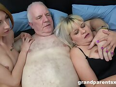 Pater fucks his dirty wife and a starved younger hooker. HD