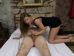 Pater tied up with an increment of gets his stiff dick pleasured unconnected with a sexy chick