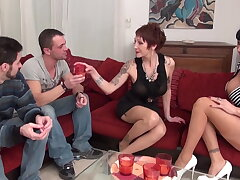 Two greedy big boobed mature slut found two bastards to get hard banged and jizzed
