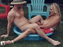 Married Caper - busty MILF Kelly Madison screwed by hubby outdoors in the backyard