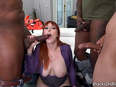 Redhead mature Lauren Phillips enjoys getting fucked off out of one's mind black guys