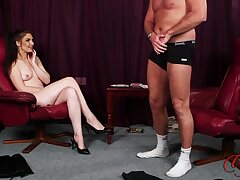Dude strokes his penis to the fullest naughty Roxee Couture takes withdraw her clothes