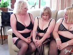 Three mature girls captured while playing with one hulking increased by horny piece be required of physicality