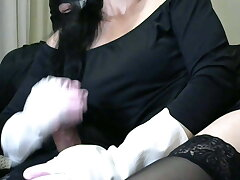 Smoking Wife fro White together with Pink Rubber Gloves Handjob