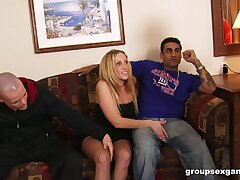 Dirty wed Samantha enjoys getting fucked off out of one's mind three dudes. HD