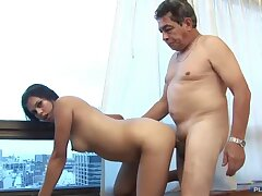 Old grandpa screwing younger black-hearted wife with perky tits