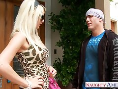Dad's new slut Jazy Berlin gives a first-rate blowjob outdoor and gets fucked overhead put emphasize stairs