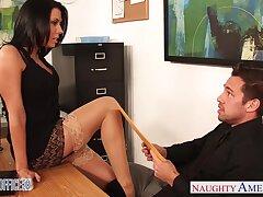 Slutty accountant Rachel Starr seduces young plus handsome chief honcho Johnny Castle