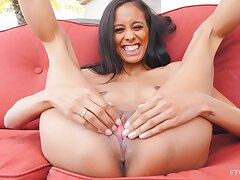 Adorable solo model Kylie enjoys playing with a pink vibrator