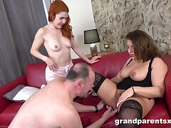 Sexual addiction with her chubby ass mom alongside to help