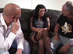 Brunette spoil Amanda Blak enjoys screwing with two guys at once