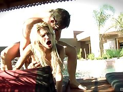 Horny babe Kendall Brooks enjoys getting fucked here the outdoors pool