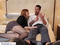 Automated fucking on the bed respecting horny housewife Lauren Phillips
