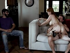 Sweet fit together swallows big adulthood after nasty home cuckold