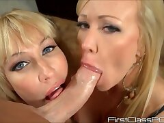 Peep this - Big ass blonde moms in POV triptych blowjob