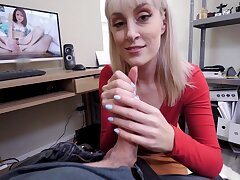 Sexy blonde MILF Sentiment Law gives an assjob and sucks his cock