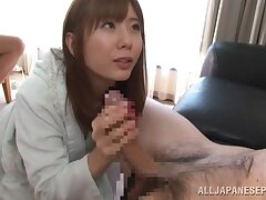 Asian wife suits man with blowjob and sexual connection
