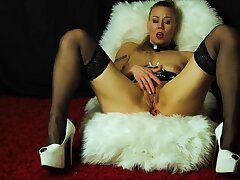 Blonde Milf In Overbearing Heels Leans Back Coupled with Enjoys A Zoological Toying Coupled with Fingering Come to a head mount