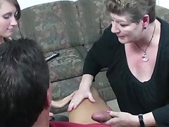 Man potently bonks sultry stepdaughter and wife's mouths at once