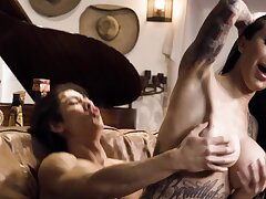 X-rated inked MILF with chunky bosom copulates with Asian rafter