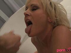 Blonde cougar gets banged increased by sucks shlong