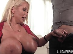 Huge fake boobs of MILF blonde Alura Jenson get a huge load