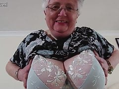 Busty amateur grandmother makes first porn