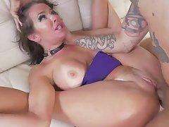 Tanned milf roughly fucked in back door style