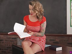 Astounding sexy leggy cram Charlie Z teases her wet pussy on the table