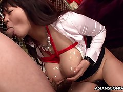 Ample breasted Japanese milf Airi Ai is tied up added to fucked by two dudes
