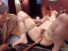 Step dad whips and toys petite 18-year-old