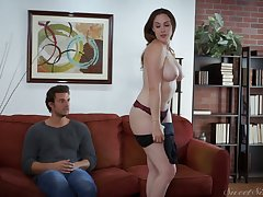 Sexy busty babe Chanel Preston gets undressed and lets dude suck her boobies