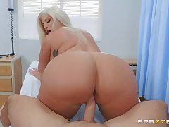 big chesty MILF Julie Cash rides hard long dick of Keiran Lee