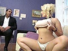 Wow blond milf Angel Wicky gives a boobjob coupled with gets her pussy blacked